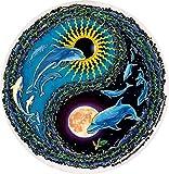 "Dolphin Flight Yin Yang - Window Sticker / Decal - 4.5"" Circular Translucent"