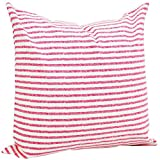Benfan Canvas Square Decorative Throw Pillow Case Pure Cotton Cushion Cover Hand-painted Pink Stripe 20inch