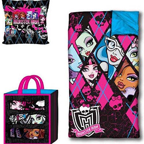 Monster High Girls Sleepover Set – Sleeping Bag, Tote Bag & Cuddle Pillow