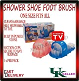 Shower Feet Foot Cleaner Scrubber Washer Bath Brush with Built-In Pumice (PINK)