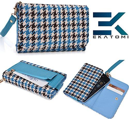 Baby Blue & Tan Brown Checker Pattern| Universal Gigabyte Gsmart G1342 Houston Carrying Case Wrist-Let Wallet Bonus Ekatomi Screen Cleaner* front-1053401
