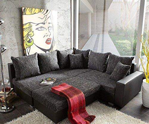Couch Lavello Grau Schwarz 210x210 Ottomane Links mit Hocker Ecksofa thumbnail
