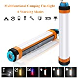 BOHON LED Camping Lantern Multifunctional Flashlight USB Rechargeable Camping Lamp Emergency SOS Flashlight Lantern with Power Bank Magnetic Mosquito Dispeller for Outdoor Hiking (Medium - 9.8in) (Color: Red, Tamaño: Medium)
