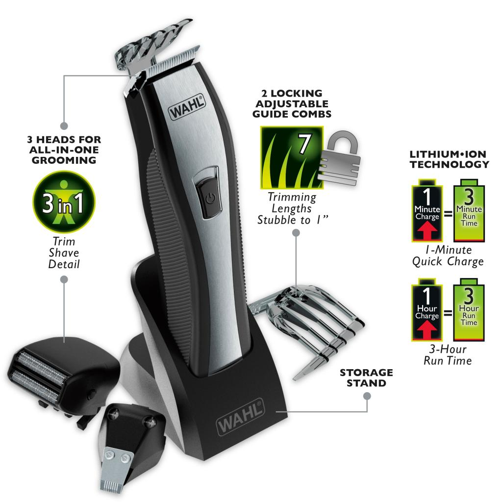 beard trimmer lithium ion battery wahl 9867 lithium ion beard and stubble trimmer ebay wahl. Black Bedroom Furniture Sets. Home Design Ideas