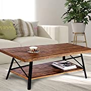 Olee Sleep 46'' Chandler Cocktail Wood & Metal Legs Coffee Table / End Table/ Side Table / Dining Table / Sofa Table/ TV Table / Vanity Table / Office Table/ Computer Table, Rustic Brown