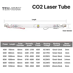 TEN-HIGH AC110V Glass Laser Tube 50W CO2 1000mm Length, 50mm Dia for Laser Engraving and Cutting Machine (Tamaño: 50W 1000mm)