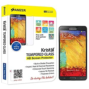 Amzer 96701 Amzer® Kristal(TM) Tempered Glass Screen Protector for Samsung GALAXY Note 3 SM-N9000, Samsung GALAXY Note 3 SM-N9005, Samsung GALAXY Note 3 SM-N900