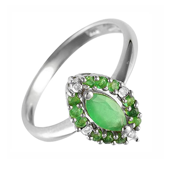 Ivy Gems 9ct White Gold Fancy Marquise Cut Emerald and Diamond Ring