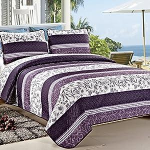 C.CTN 3-piece Quilt Set Print Programs Coverlet Set/Quilt Set,Queen Size, Color 11, Purple
