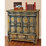 China Furniture Online Elmwood Cabinet, Vintage Hand Crafted Qing Style Distressed Blue and Yellow