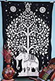 Elephant Tree Tapestry ,Good Luck White Elephant Tapestry , Hippie Gypsy Wall Hanging , Tree of Life Tapestry , New Age Dorm Tapestry (White/Black)