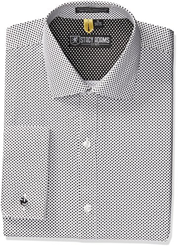 Stacy Adams Men's Tampa Dress Shirt, White/Black, 18