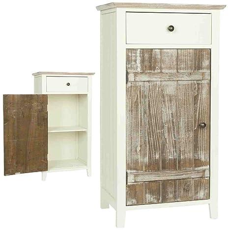 5H0093 Clayre & Eef - Armadio di legno - Con cassetto - Bianco / marrone ca. 45 x 35 x 85 cm