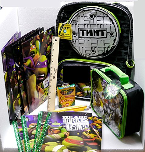 Teenage Mutant Ninja Turtles Backpack And Back To School Supply Bundle - 17 Items - Includes Tmnt Spiral Wide Rule Notebooks And Pocket Folders front-858456