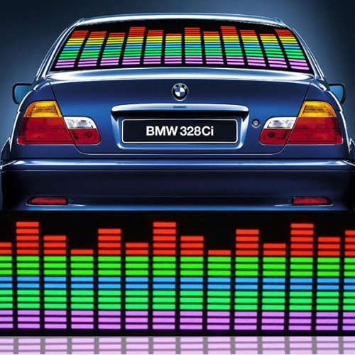 Image® 90*10Cmm Multicolor Sound Music Rhythm Activated Sensor Flashing Car Glow Led Light Stickers With Car Cigaratte Lighter