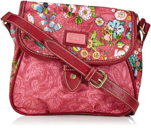 Oilily French Flowers S Flap Shoulder Bag Pink OCB3207-402, Damen Umhängetaschen 20x18x10 cm (B x H x T)