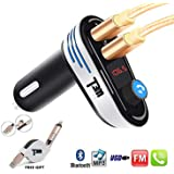 [2018] T3MCO FM Transmitter, Bluetooth FM Transmitter for Car, 2 USB Ports Charger Support USB Flash Drive, Car MP3 Player, Car Kit with Hands Free Ca