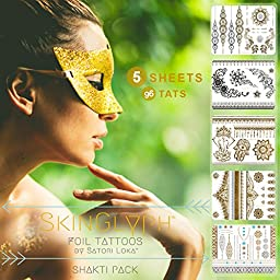 Beauty in a Flash. Tattoos by SkinGlyph, Metallic Silver + Gold Jewelry Temporary Tats - 5 Sheets, 96 Designs