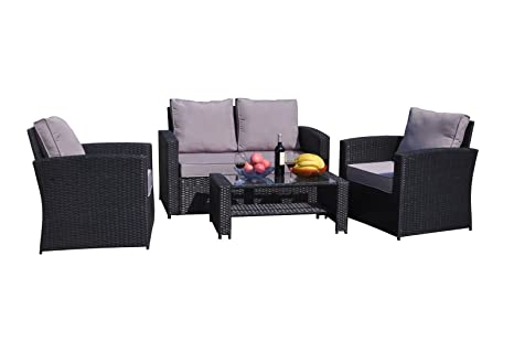 Yakoe 4-Piece Rattan Garden Furniture Sofa Set Table and Chairs - Black