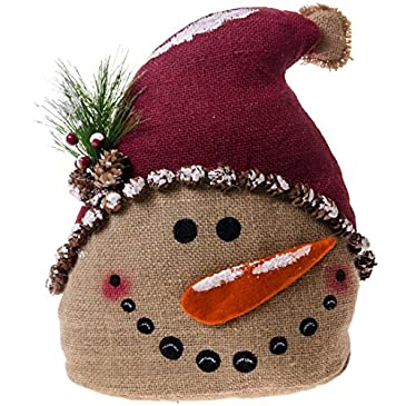 Burlap snowman doorstop home decor for Snowman made out of burlap
