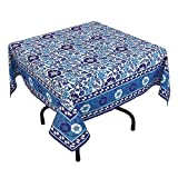 "Handmade Indian 54"" Square Tablecloth - Turquoise, Blue And White Floral Cotton"