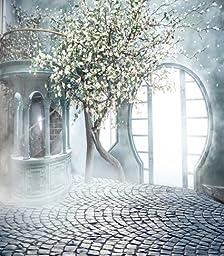 Fairy Wedding Photography Backdrops White Flower Tree Background Brick Floor Bright Light Windows Photo Backdrop