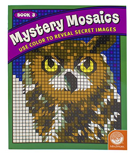 "MindWare - Mystery Mosaics - 18 Unique Puzzles With Up To 12 Color Directions - Teaches Creativity and Fosters Imagination - Includes 10"" x 17"" Fold-Out Designs"