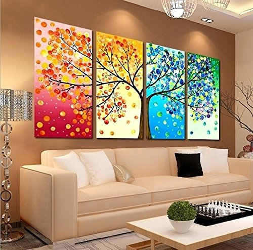 Unframed Large HD 4 Pieces Colorful Tree Abstract Oil Paintings Wall Art Picture Modern Home Decor Living Room or Bedroom Canvas Print Painting DIY Murals (Wall Painting Accessories compare prices)