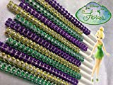 Disney Fairies Featuring Tinkerbell Inspired Specialty Bling Cake Pop Sticks - Gold, Green & Purple Glam for Lollipops, Cake Pops and All Things Party - Bling Sticks 6 15.2 Cm - 12 Ct Set