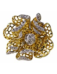 Vaishali Stylish Two Toned Floral Design Ring Embellished With American Diamond Sf1697