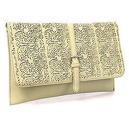BMC Decorative Ornate Cut Out Design Pale Khaki Faux Leather Fashion Statement Envelope Clutch