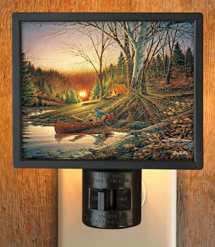 Morning Solitude Camping Scene Gallery Art Night Light by Terry Redlin - 1