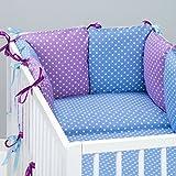 Set de 10 piezas de ropa de cama de beb�: protector de cuna 6 unidades, Edred�n para beb� tama�o grande, con funda de edred�n, funda de almohada, dise�o de peque�os oreiller. peque�os, color azul, dise�o de lunares, color morado azul Talla:lit b�b� d