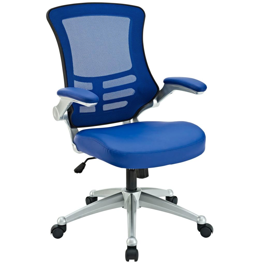 Lexmod Attainment Office Chair With Blue Mesh Back And Leatherette Seat Furniture