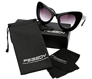 057c236508 FEISEDY Cat Eye Retro Acetate Frame Polycarbonate Lenses Women Sunglasses  Black (Color  Black