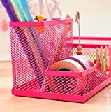 Pencil Holders/Desk Supplies Organizer/Pen Container/Brush Pot, Easy To Clean, Fashion; 1PCS, Metal, Mesh Collection, 3 Compartments, 20*10*10cm, Rose Red