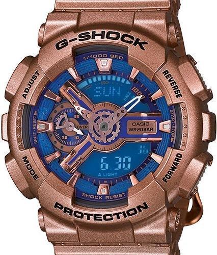 Casio G-Shock G-Series Blue Dial Gold Tone Quartz Women's Watch GMAS110GD-2A