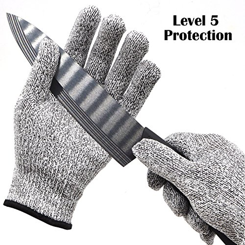 Dyneema Cutting Gloves Rubber Dipped Gloves 3 Class Puncture-proof Gloves HPPE Gloves Hand Protector Knitted Gloves Reusable Cleaning Gloves (Small