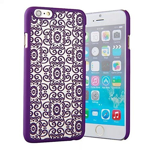"""""""6 Case, iPhone 6 Case -LUOLNH Carved Damask Vintage Pattern Matte Hard Case Cover For iPhone 6 4.7 inch (Not for iPhone 6 Plus) - purple"""""""