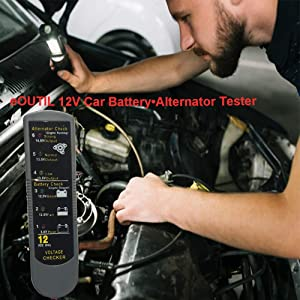 eOUTIL 12V Car Battery/Alternator Tester, Auto Battery Analyzer with LCD Display (red2) (Color: RED)