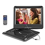DR.Q 12.1 Inch Portable DVD Player with 6000mAh Rechargeable Battery, 270 Degree HD Swivel Screen, 5.9ft Car Charger, SD Card Slot, USB Port and Multiple Disc Formats Supported, 2x Earbuds Included (Color: Black)