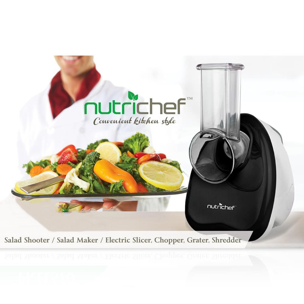 Upgraded NutriChef Countertop Salad Maker | Vegetable Slicer, Electronic Shredder & Salad Shooter | Stain Resistant & Easy One-Touch Control | Slices or Shreds Vegetables, Fruits, Cheese & More