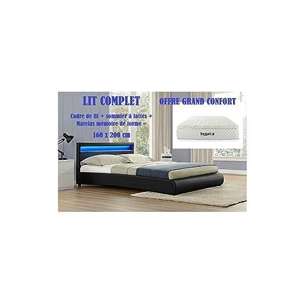 LIT Complet :Le Romantique Cadre de lit en simili cuir Noir LED 160x200cm + sommier + Matelas mousse mémoire forme +ressort + Latex