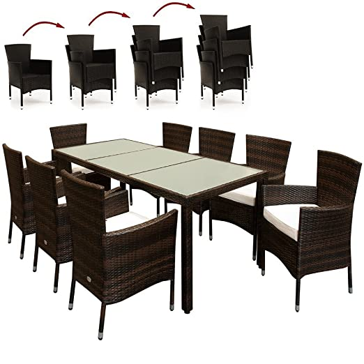 Rattan Garden Furniture Dining Set Outdoor Patio Rectangular Glass Table 8+1 Brown Table and Chairs Set