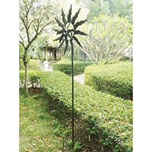 Kinetic wind Sculpture Modern Art SUN Dual Spinner Metal Garden Outdoor Pinwheel