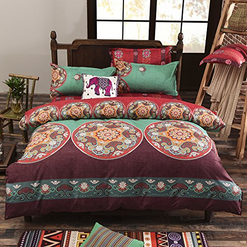 Vaulia-Lightweight-Microfiber-Duvet-Cover-Set-Bohemia-Exotic-Patterns-Reversible-Color-Design-FullQueen-Size