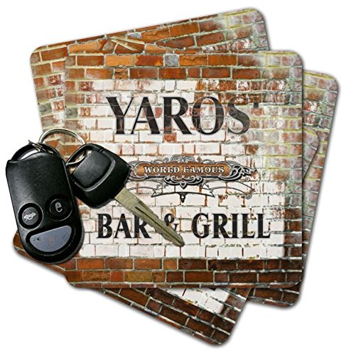YAROS' Bar & Grill Brick Wall Coasters - Set of 4 pavone family crest square coasters coat of arms coasters set of 4