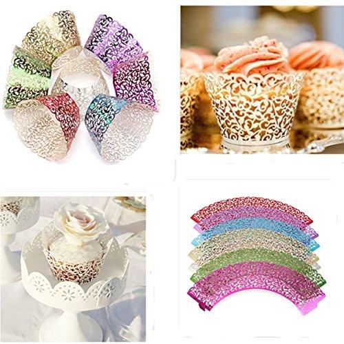 Aliciashouse 12pcs 7 couleur filigrane vigne Cupcake Wrappers cols roulés affaire Birthday Party Decoration-argent