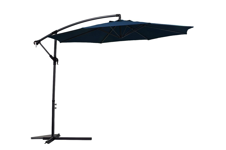 Ampelschirm 300cm blau mit Ständer, Gestell Aluminium, UV Schutzfaktor 50+ jetzt kaufen