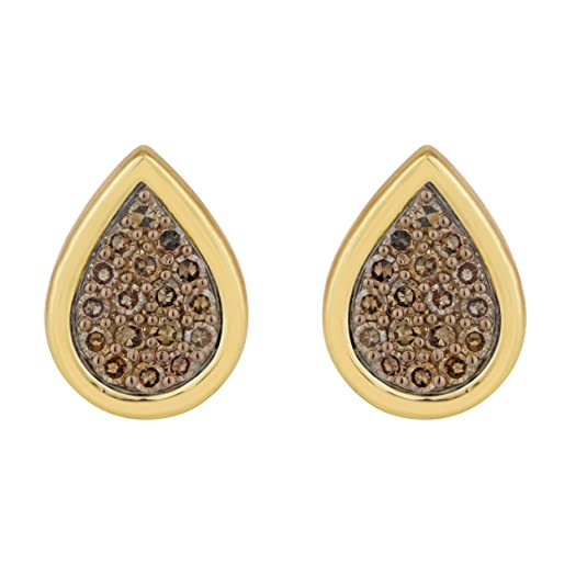 Jewelili Gold Plated Sterling Silver Diamond Stud Earrings